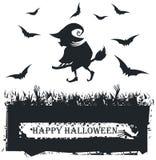 Cartão de Dia das Bruxas com a silhueta da bruxa no fundo branco Fotos de Stock Royalty Free
