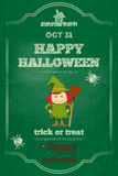 Cartão de Dia das Bruxas no quadro verde Fotografia de Stock