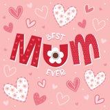 Cartão de dia ou de aniversário de mães no cor-de-rosa-melhor MUM nunca Foto de Stock Royalty Free