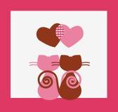 Cartão de dois Valentim dos gatos Fotos de Stock Royalty Free