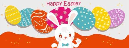 Cartão de Easter Coelho da imagem do vetor, ovos Fotos de Stock