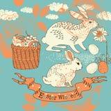 Cartão de Easter com coelhos Fotos de Stock