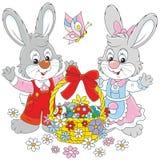 Cartão de Easter com coelhos ilustração stock