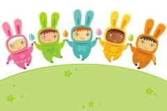 Cartão de Easter com coelhos do bebê Fotos de Stock Royalty Free