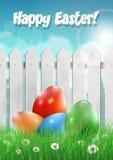 Cartão de Easter com ovos da páscoa Imagens de Stock Royalty Free