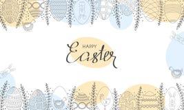 Cartão de Easter do vetor Ovos da páscoa, flores, coelhinho da Páscoa e galinha tirados mão ilustração royalty free