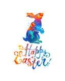 Cartão de easter feliz Coelhinho da Páscoa e inscrição escrita mão ilustração do vetor