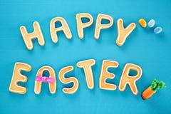 Cartão de Easter feliz na turquesa Textured Fotos de Stock Royalty Free