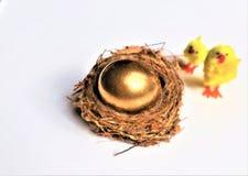 Cartão de easter feliz Ovo da páscoa dourado fotografia de stock royalty free
