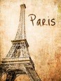 Cartão de Eiffel do vintage ilustração do vetor