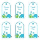 Cartão de etiqueta da festa do bebê com elefante bonito e flores ilustração do vetor