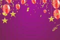 Cartão de grande inauguração com os balões do ar e ouro vermelhos da estrela ilustração stock