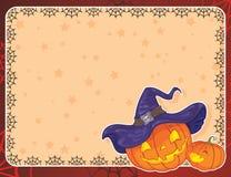 Cartão de Halloween com abóboras Fotos de Stock Royalty Free