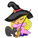 Cartão de Halloween com o gato da vassoura de bruxa Imagem de Stock Royalty Free