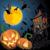 Cartão de Halloween da abóbora Fotografia de Stock