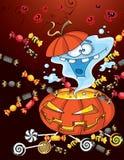 Cartão de Halloween do fantasma Fotos de Stock Royalty Free