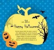 Cartão de Halloween do vetor com abóboras Imagem de Stock Royalty Free