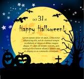 Cartão de Halloween do vetor com abóboras e fantasmas Fotografia de Stock Royalty Free