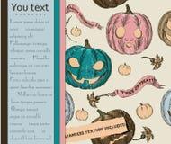 Cartão de Halloween e textura sem emenda com abóboras. Ilustração Stock