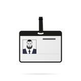 Cartão de identidade com sombra em um estilo liso do fundo branco Imagens de Stock Royalty Free