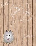 Cartão de madeira com cão devotado Ilustração do Vetor