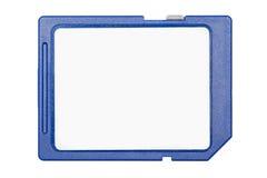 Cartão de memória azul do SD isolado no fundo branco Imagens de Stock