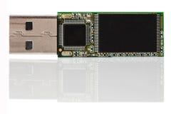 Cartão de memória desmontado com reflexão Imagens de Stock