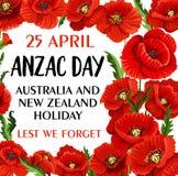 Cartão de memória do vetor da papoila de Anzac Day Lest We Forget ilustração royalty free