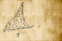 Cartão de Natal, abeto do ouro do pergaminho Imagens de Stock
