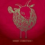 Cartão de Natal 2015 anos novos chineses da cabra Imagens de Stock Royalty Free