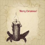 Cartão de Natal artístico do vetor do vintage com vela Fotografia de Stock