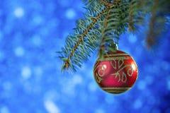Cartão de Natal bola vermelha do Natal que pendura em sua árvore de Natal em um fundo azul Fotografia de Stock