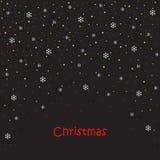 Cartão de Natal bolas, flocos de neve, árvore ilustração royalty free