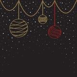 Cartão de Natal bolas, flocos de neve, árvore ilustração do vetor