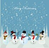 Cartão de Natal, boneco de neve ilustração royalty free