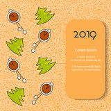 Cartão de Natal bonito com árvore de Natal e pulsos de disparo no backgrownd alaranjado Vetor ilustração stock