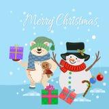 Cartão de Natal bonito com boneco de neve, urso e presente ilustração royalty free