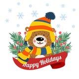 Cartão de Natal bonito com braches da árvore e o urso engraçado ilustração royalty free