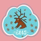 Cartão de Natal bonito com um cervo de Santa Claus e as cookies do Natal Vetor ilustração do vetor