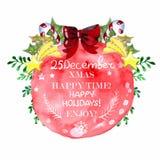 Cartão de Natal bonito da aquarela Fotos de Stock