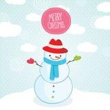 Cartão de Natal bonito do boneco de neve dos desenhos animados. Imagem de Stock