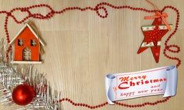 Cartão de Natal claro Ilustração do Natal e do ano novo fotografia de stock