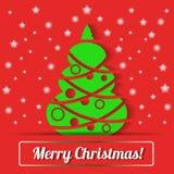 Cartão de Natal com árvore de Natal Fotografia de Stock