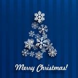 Cartão de Natal com a árvore de Natal dos flocos de neve Fotografia de Stock Royalty Free