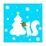 Cartão de Natal com a árvore do esquilo e de abeto ilustração do vetor
