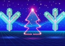 Cartão de Natal com a árvore do néon 80s Imagem de Stock