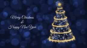 Cartão de Natal com a árvore de Natal do ouro no fundo azul fotos de stock
