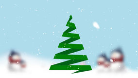 Cartão de Natal com árvore e neve de Natal vídeos de arquivo