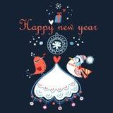 Cartão de Natal com árvore e pássaros de Natal imagem de stock royalty free