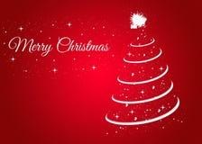 Cartão de Natal com a árvore de Natal no fundo vermelho fotografia de stock royalty free